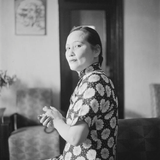 Half length portrait of Madame Sun Yat-Sen, widow of the founder of the Chinese Republic, in Chungking