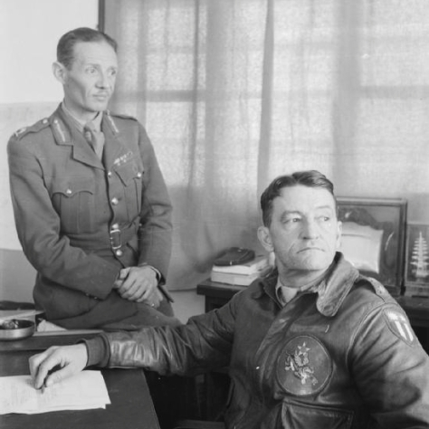 "Major General Claire Chennault, Commander of the ""Flying Tigers"", with Major General Gordon Grimsdale, Commander of the British Military Mission to China"