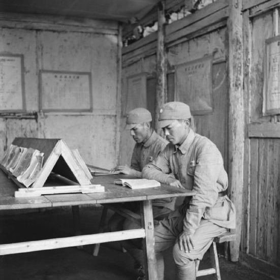 Chinese soldiers in a barracks at Pihu Military training centre, Fukien Province
